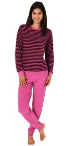 Lässiger Damen Frottee Pyjama langarm mit Bündchen in Streifenoptik - 291 201 13 776, Farbe:beere, Größe:36/38