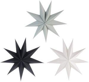 30cm Papier Stern Dekoration 3er Set Faltsterne Neuneck Weihnachtsstern Deko (Schwarz & Weiß & Grau)