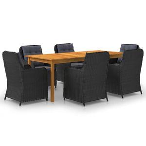 Gartenmöbel Essgruppe 6 Personen ,7-TLG. Terrassenmöbel Balkonset Sitzgruppe: Tisch mit 6 Stühle, Schwarz❀3409