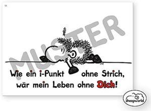 sheepworld - 50576 - Postkarte Nr. 53, Schaf, Wie ein i-Punkt ohne Strich, wär mein Leben ohne Dich!, Pappe