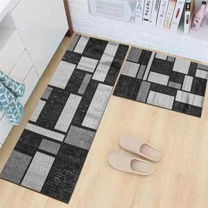 NEUFU Rutschfest Küchenmatten, 2 Stück Küchenläufer, Saugfähig Küchenteppich, Dekorative Teppich Läufer Set für Küche, 40 x 60cm Schwarz Gitter Muster
