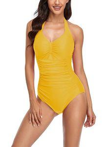 Sexydance Frauen Einteilige Badeanzug Monokinis Push Up Gepolsterter Strandkleidung,Farbe:Gelb,Größe:M