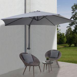 Wandschirm Casoria, Ampelschirm Balkonschirm Sonnenschirm, 3m neigbar, Polyester Alu/Stahl 9kg  grau