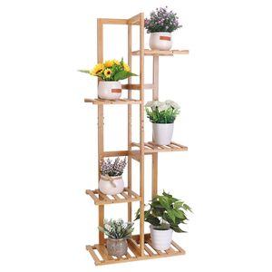 Pflanzenregal Holz, Blumenständer mehrstöckig 6 Ablagen, Pflanzentreppe Blumenregal für Balkon Restaurant Café Deko, 40x20x102cm