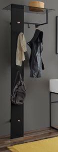 Garderobenpaneel Kasan in schwarz Metall Garderobe für Flur und Diele 71 x 190 cm mit Ablage und Kleiderstange