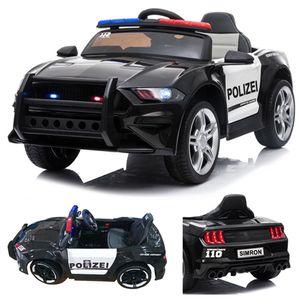 👮🏻 POLIZEI Kinderauto Polizeiauto mit Funkgerät Sirene und Martinshorn Kinderfahrzeug Kinder Elektroauto Gefedert mit Hilfsrollen