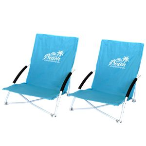 2 Stk. Strandstuhl Summer-Beach inkl. Transporttasche Blau