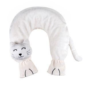 Nackenwärmflasche Flausch Bezug Katze weiß Gummiwärmflasche 2L Wärmflasche BWI