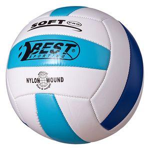 Best Sporting Volleyball Größe 5, weiß/gelb/rot oder weiß/hellblau/blau, Farbe:weiß/hellblau/blau
