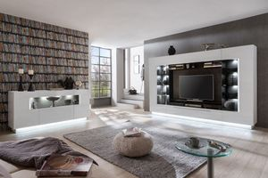 Dundee 2 Wohnwand  SET 2-teilig Hochglanz Weiß, LED-Beleuchtung:ohne Beleuchtung