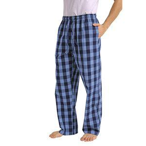 Mode Herren Casual Plaid Loose Sport Plaid Pyjamahose Hose Größe:M,Farbe:Blau