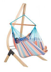 La Siesta Hängestuhl Lounger Domingo dolphin + Holzständer für Hängestühle Lounger Vela, blau; DOL213VEA161
