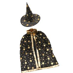 Jungen Mädchen Halloween Kostüm, Zauberer Hexe Umhang Kap Robe mit Hut Mantel Schwarz Rot