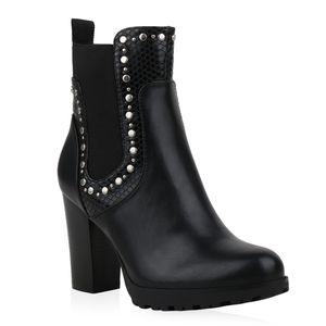 Mytrendshoe Damen Klassische Stiefeletten Leicht Gefütterte Nieten Schuhe 835477, Farbe: Schwarz Muster, Größe: 38