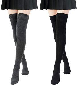 2 Paar Overknee-Socken, Strümpfe Damen Oberschenkel lange gestreifte Socken Oberschenkel hohe Socken