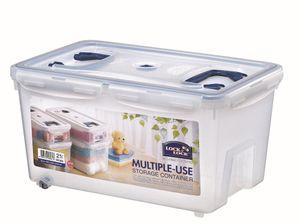 Lock & Lock 4 x Multifunktionsbox 21 Liter mit 2 Griffen Aufbewahrungsbox 456 x 300 x 225 mm HPL896 x 4