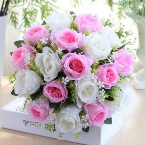 18Kopf Künstliche Seidenrosen Blumen Brautstrauß Rose Home Hochzeitsdekor G. WTX70519484G