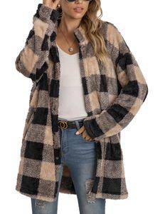 Damen Winter Warm Plaid Jacke Cardigan Plüsch Casual Top,Farbe: Khaki,Größe:XXL