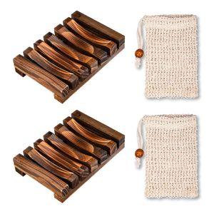 2 Stück Seifenschale Holz Dusche,2 Stück Seifensäckchen,Natürliche Bambus SeifenkisteSeifensack mit Kordel, Verhindert Seifenreste auf Ihrer Waschbeckenablage Für Bad Waschbecken