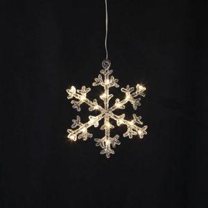 LED-Acryl-Schneeflocke 'Icy Star' - 16 warmweiße LED - H: 18cm - schwarz/klar - Batteriebetrieb - Timer