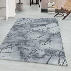 Teppium Kurzflor modern Teppich, Wohnzimmerteppich, Marmor , Rechteckig SILBER, Farbe:SILBER,140 cm x 200 cm