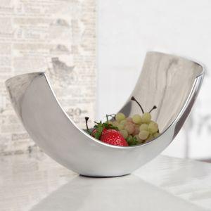cagü: Außergewöhnliche Design Obstschale [CLEO] Silber aus poliertem Aluminium 25cm, Echter Designklassiker!