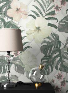 Blumentapete  Weiß Vinyl  Floral Modern Natur Blumen Blätter  Natal