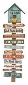 Holz Gartenregeln mit bunten Regeln und blauem Haus - Gartenstab