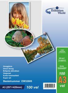 EtikettenWorld BV 100 Blatt A3 Fotopapier 260g/m² hochglänzend, wasserfest, Super weiss von EtikettenWorld BV