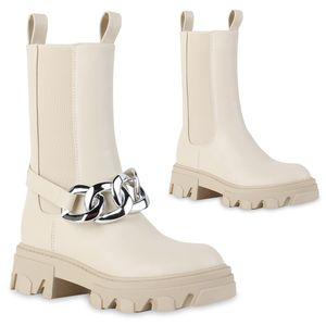 VAN HILL Damen Leicht Gefütterte Plateaustiefel Stiefel Ketten Schuhe 837803, Farbe: Beige, Größe: 38