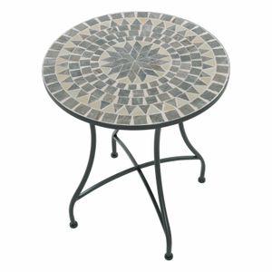 Raburg Mosaiktisch Mayla in BLAU/GRAU/MINT - Gartentisch mit einzigartigem Muster, handgefertigtes Unikat - Rund ø 60 cm, Höhe 70 cm