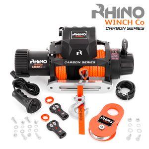 Rhino 12V Elektrische Seilwinde Synthetikseil/Kunststoffseil Mit Funkfernbedienung und Handschalter 13,500lb - Carbon