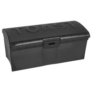 Toastbrotbox transparent schwarz mit Klappdeckel Brotkasten Brotbox Brotbehälter Toast Brot Box Brotkiste Brotdose