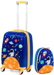 GOPLUS Kinderkoffer mit Rucksack, Kids Trolley, Kindergepäck mit Rollen, Reisekoffer mit Teleskopgriff, Hartschalenkoffer für Kinder, Kindertrolley Farbwahl (Blau)
