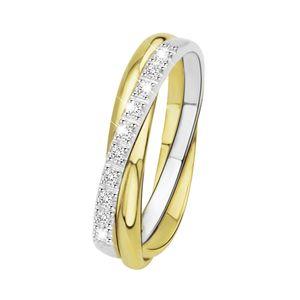 Zweifarbiger Goldring mit Diamant -  52