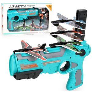 Blau Hot Flugzeugmodell Gun One-Click-Auswurfmodell Flugzeug Spielzeugpistole mit 4 Stück Glider Flugzeugwerfer, Schießspiel Spielzeug für Kinder