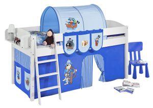 Lilokids Spielbett IDA 4105 Pirat Blau - Teilbares Systemhochbett - weiß - mit Vorhang - Maße: 113 cm x 208 cm x 98 cm; IDA4105KW-PIRAT-BLAU-S