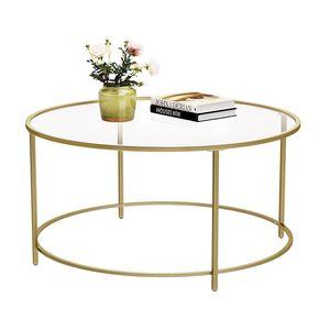 VASAGLE Couchtisch mit goldenem Eisengestell Ø84 x 45,5 cm rund Glastisch robustes Hartglas Sofatisch stabil Wohnzimmertisch dekorativ Gold LGT21G