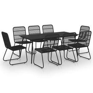 9-teiliges Outdoor-Essgarnitur Garten-Essgruppe Sitzgruppe Tisch + stuhl Poly Rattan und Glas