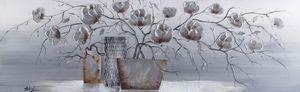 Ölgemälde Vase mit Silberapplikationen - ca. 40 x 120cm