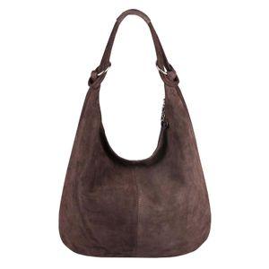 Italy Damen XXL Ledertasche Leder Wildleder Shopper Tasche Schultertasche Umhängetasche Hobo-Bag Beuteltasche Dunkelbraun