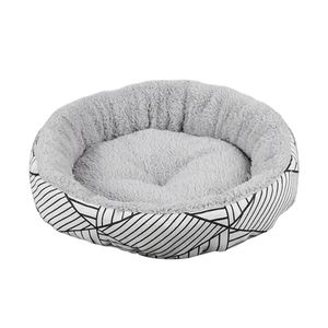 Haustierbett Hundebett Katzenbett Rundes Gemütliches Bequemes Bett für Hunde Farbe Schwarz + Weiß-L