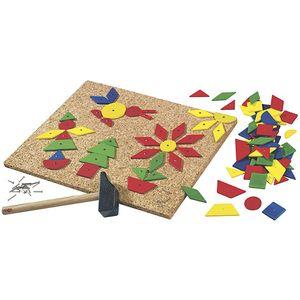 HABA Nagelspiel Zack, 100 geometrische Holztäfelchen