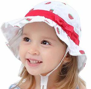 Sonnenhut Baby Mädchen Kleinkind Fisherhut Sommermütze mit Kinnriemen UV-Schutz Einstellbarer Strandhut-Kappenumfang 52cm