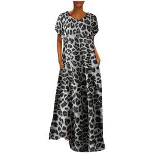 Frauen Plus Size Print Täglich Casual Kurzarm Leopard Grain O Neck Kleid Größe:XL,Farbe:Weiß