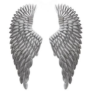 Engelsflügel Wanddeko Engel Silber Wandskulptur Wandhänger Flügel DE 38cmx100cm