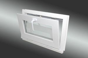 Neruli Kellerfenster Kunststoff weiß 40x40 cm NUR KIPPFUNKTION 2 Fach verglast
