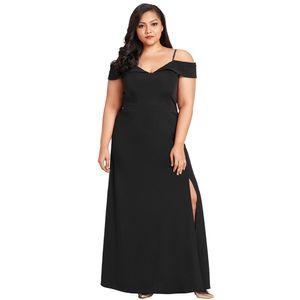 Sexy Frauen plus Groesse aus der Schulter Schlitz Kleid V-Ausschnitt langes Kleid Party Abend elegante Maxi Kleid schwarz