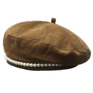Britische Mode Retro Faux Pearl Frauen Herbst Winter Outdoor Warme Baskenmütze Hut Kappe, Farbe: Khaki