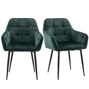 Futurefurniture®Esszimmerstuhl 2xStück Küchenstuhl Polsterstuhl Wohnzimmerstuhl Sessel mit Armlehne, Sitzfläche aus Samt, Metallbeine,Grün